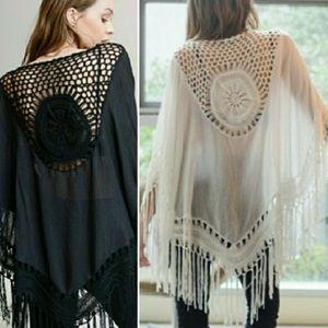 Black White Crochet Tassel Bohemian Kimono